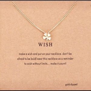 Jewelry - GOLD DIPPED MINIMALIST LUCKY CLOVER LEAF WISH CARD